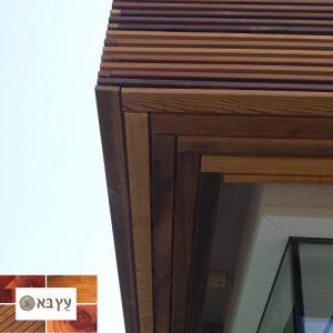 חיפוי קיר בית חיצוני עם עץ סידר