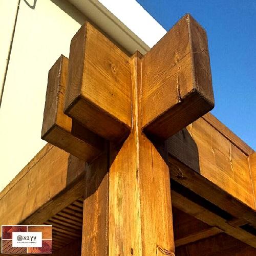 פרגולה גושנית מעץ אורן עם פינוים